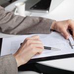 Lady using a checklist